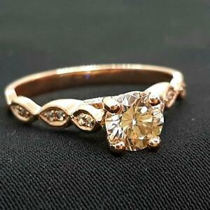 $2899 .90ct Light Fancy Chocolate VS Diamond Solid 14K Rose Gold Engagement Ring