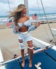 LF carmar distressed cut out Bermuda denim shorts NWT sz 26 $198