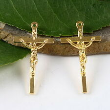 15pcs gold-tone cross charms findings h1478