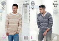 King Cole Mens Knitting Pattern Raglan Sleeve Round V Neck Jumpers Vogue DK 4461