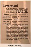 RSI LAVORATORI! IL LAVORO... volantino di propaganda Repubblica Sociale Italiana