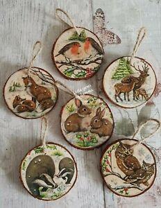 £3.99 EACH Woodland christmas tree decorations/wood slice/handmade/fox/deer/owl