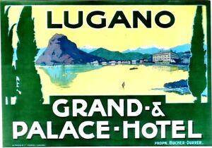 Original vintage poster LUGANO PALACE HOTEL TICINO LAKE c.1900