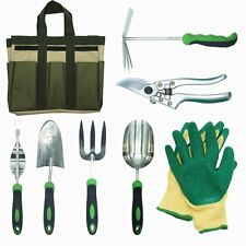 8 Piece Stainless Steel Garden Tools Set with Garden Gloves and Garden Tote for