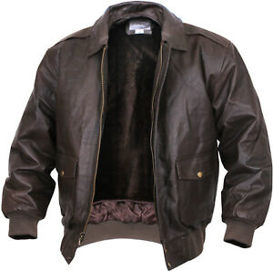 Brown Thick Heavy Leather Classic A-2 Flight Jacket