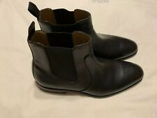 Hugo Boss Mens Black Leather New Ankle Boots Size-9 D