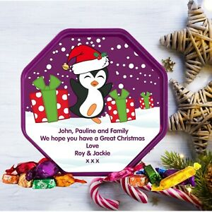 Personalised  LABEL ONLY Fits Quality Street Tub Christmas Gift penguin design