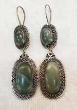 Unique color Afghanistan Jade Stone Old Vintage Silver Beautiful Earrings