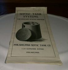 Vintage brochure Septic Tank Systems For Sanitary Sewage Disposal Philadelphia