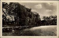 Neubrück Brandenburg DDR s/w Postkarte 1954 gelaufen Angler Siedlung See Boote
