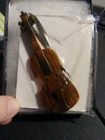 Wooden Violin Ornament New In Box