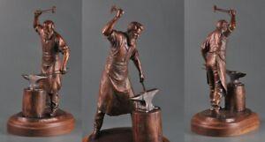 "Steve Lillegard Shades of Red Blacksmith Forging Iron 16"" Tall Bronze Sculpture"