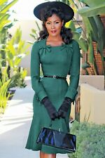 Stop Staring dark green 1940s vintage style dress BNWT size Large UK 12 - 14