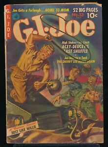 G. I. JOE No. 13 1952 Ziff-Davis War Comic Book CLARENCE DOORE Painted Cover GD