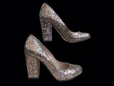 VINCE CAMUTO Block Heel Shoes Silver Glitter Glam 70s Disco Diva Size 5 UK EU 37