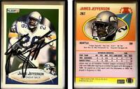 James Jefferson Signed 1990 Fleer #267 Card Seattle Seahawks Auto Autograph