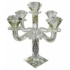 Crystal Candlesticks Fancy 5 Branch with 30 cm with Plaque Jerusalem Judaica