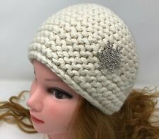 Women Kerchief Hand Knit 100% Cashmere Ivory color Fashion Brooch Warm Headscarf