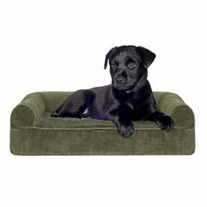 Furhaven Pet Dog Bed - Memory Foam Faux Fur and Velvet Traditional Sofa-Style...