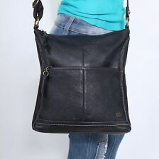 THE SAK Medium Black Leather Crossbody Shoulder Hobo Tote Satchel Purse Bag
