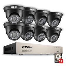 ZOSI 8CH 1080N TVI DVR 1.0MP Outdoor 3.6mm Dome CCTV Security Camera System 1TB
