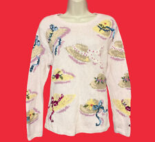 TALBOTS ... Embroidered Linen & Cotton Hand Knit Pull-Over Sweater ... Size  S