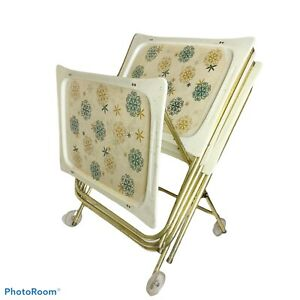 Folding TV Trays And Cart retro mid century starburst LaVada 50s 60s EUC