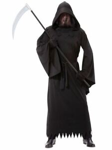 Mask Gloves Halloween Fancy Dress Costume Outfit Adult Mens 4 Pc Grim Reaper