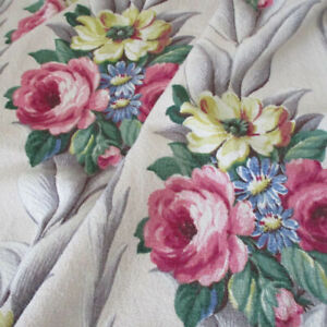 """Vintage 1940s Nubby BARKCLOTH Fabric PINK ROSES Grey Leaves 43"""" X 33"""" GLEN COURT"""