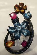 Estate Ring Blue Topaz Colored Sapphires Silver Black Rodium Sz  7.5 Mint