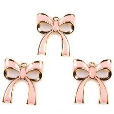 3x 146302 Distinctive Enamel Pink Bowknot Alloy Necklace Pendant Accessories