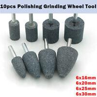 10 Pcs  6*16/20/25/30mm Shank Abrasive Mounted Stone Rotary Tool Grinding Wheel