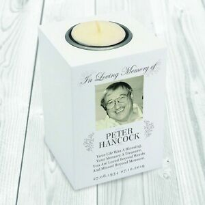 Personalised In Loving Memory Photo Memorial Wooden Tea-Light Holder Memorial
