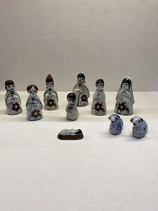 VTG 12 Piece Mexican TONALA Pottery Nativity Set CRECHE Blue/Black Hand Painted