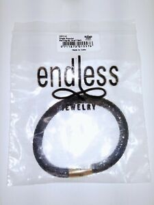 """Endless Black Reptile Single Leather Bracelet 7.5"""" 1053-19 Gold Plated"""