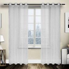 2x Gardinen transparent Vorhang Ösen Schal Sternenlicht 140x245 Weiß VH5822ws-2