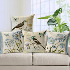 Linen Square Pillow Case Flowers Bird Throw Pillow Cover Sofa Seat Cushion Cover