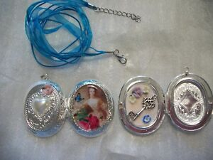 """HANDMADE VICTORIAN LADY PICTURE LOCKET """"KEY TO MY HEART"""" DUAL SIDED SILVER PLATE"""