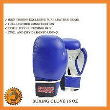 16 OZ LEATHER BOXING GLOVES SPARRING MMA PUNCH BAG MITT UFC FIGHT TRAINING KICK
