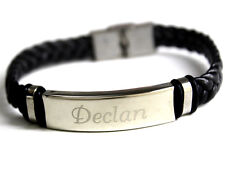 DECLAN - Bracelet With Name - Leather Braided Engraved - Gifts For Him