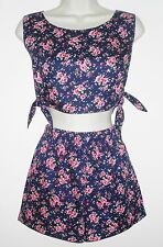 Vintage 80s Retro 2 Piece Jumpsuit Shorts & Crop Top Small Pink Navy Floral