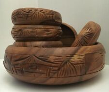 Nice Vintage Hand Carved Wood Bowl Set - Huts and Haystacks 7 Pieces
