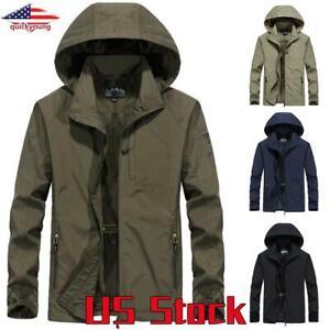 2020 Men/'s Fashion Hooded Raincoat Waterproof Jacket Zip Up Windbreaker 4XL-8XL