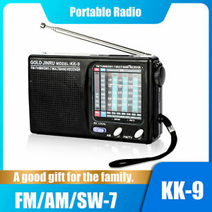 Mini Portable Stereo Sound Radio 9 Band FM MW SW Receiver Player Battery Powered