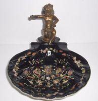 Seifenschale mit Bronze Engel - Farben: schwarz + mehrfarbig - Keramik - NEU!