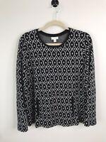 J. Jill Women's Black & White Long Sleeve Diamond Pattern Shirt Size Large