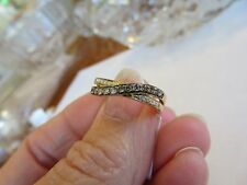 LeVian 14K GOLD .24 CT CHOCOLATE & WHITE DIAMOND CROSSOVER RING RET $1299. 6 3/4