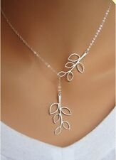 Women Fashion Branch Cross Silver Plated Pendant Chain Necklace Accessories