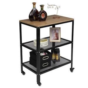 3-Tier Microwave Oven Cart Bakers Rack Kitchen Rack Storage Shelves Stand Wheels
