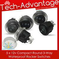5 X 12V WATERPROOF 3-WAY ROUND ON/OFF/ON ROCKER SWITCH - BOAT/CARAVAN/4X4